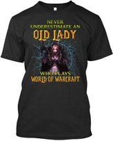 TEEHAY Never underestimate an old Lady who plays world of War-craft Tshirt- (XL,Black)