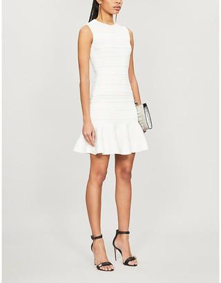 Alexander McQueen Striped sleeveless woven mini dress