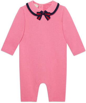 Gucci Peter Pan-Collar Coverall w/ Web Bow, Size 3-24 Months