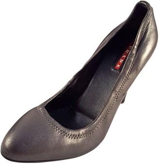 Prada Grey Leather Heels