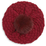 Echo Cable-Knit Tuque with Fox Fur Pom-Pom