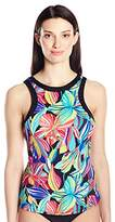 24th & Ocean Women's Palmia Floral High Neck Tankini with Under Wire Bra