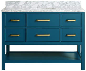 """M.O.D. Louella Blue Bathroom Vanity With Marble Top, 48"""""""