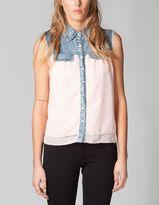 Full Tilt Womens Denim Inset Chiffon Shirt