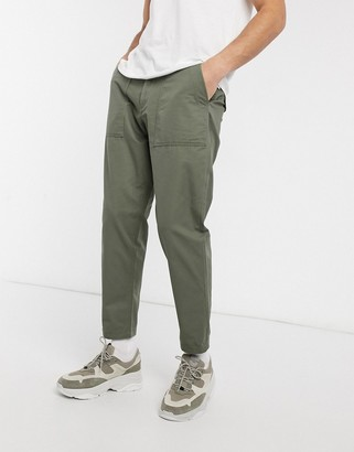 Selected organic cotton loose tapered utility trousers in khaki