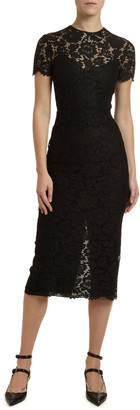 Valentino Heavy Lace Illusion Midi Cocktail Dress