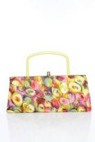 Leon Multicolor Abstract Print Silk Evening Clutch Handbag