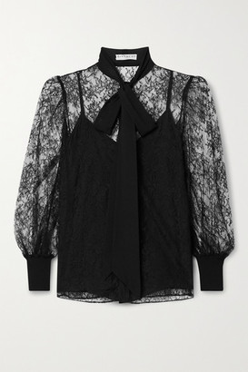 Givenchy Pussy-bow Silk Crepe De Chine-trimmed Lace Blouse - Black