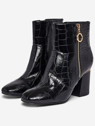 Dorothy Perkins Wide Fit Gold Trim Block Heel Croc Boots- Black