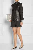 Tamara Mellon Paneled leather and silk crepe de chine top