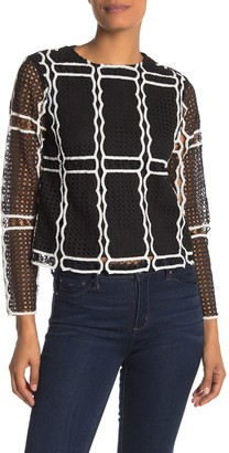 ENGLISH FACTORY Two-Tone Crochet Lace Blouse