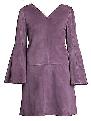 Valentino Women's V-Neck Suede Mini Dress