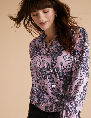 Marks and Spencer Floral High Neck Long Sleeve Popover Blouse