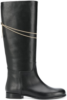 MSGM Chain-Detail Knee-Length Boots