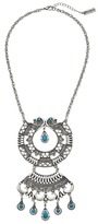 Steve Madden Turquoise Stone Round Geo Discs Cable Chain Necklace Necklace