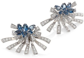 Hueb Mirage Diamond & London Blue Topaz Stud & Ear Jacket Set