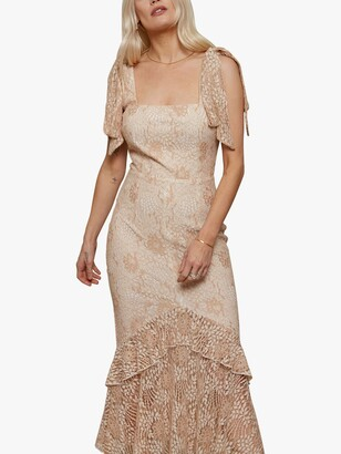 Little Mistress Floral Lace Mermaid Maxi Dress, Cream