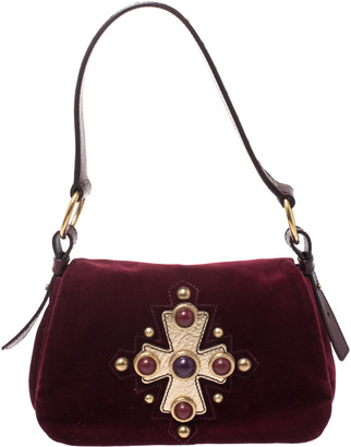 Saint Laurent Burgundy Velvet Venise Shoulder Bag