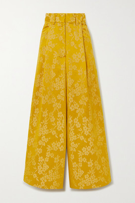 Dries Van Noten Floral-jacquard Wide-leg Pants - Yellow