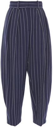 See by Chloe Cropped Pleated Pinstriped Canvas Tapered Pants