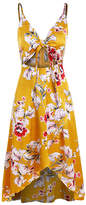 Shanuoint Women's Casual Dresses orange - Orange Floral Cutout Hi-Low Dress - Women