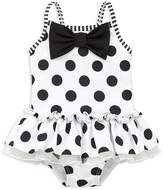 Little Me Girls' Polka Dot Skirted Swimsuit with Bow - Baby