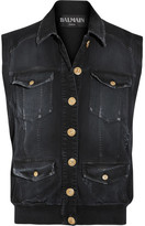 Balmain Distressed Denim Gilet - Black