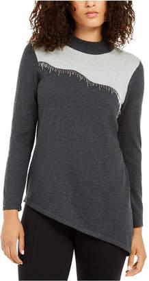 Alfani Asymmetrical Beaded Sweater