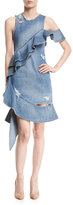 Jonathan Simkhai Asymmetric Ruffled Distressed Denim Dress, Indigo