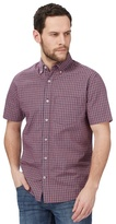 Maine New England Big And Tall Red Mini Grid Check Print Short Sleeve Shirt
