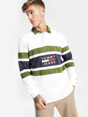 Tommy Hilfiger TJM Panel Rugby Shirt in White Navy Khaki