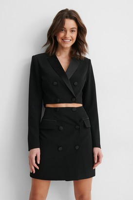 NA-KD Satin Detail Cropped Blazer