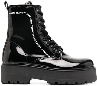 Tommy Jeans Platform Logo Print Boots