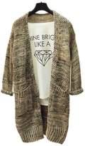 ARJOSA Women's Cable Knit Pockets Long Sleeve Open Front Cardigan Casual Sweater ( Beige)