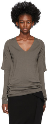 Rick Owens Brown Zionic V-Neck Sweater