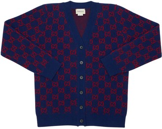 Gucci Felted Wool Jacquard Knit Cardigan
