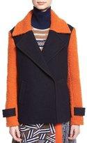 Diane von Furstenberg Kenzly Colorblock Textured Coat