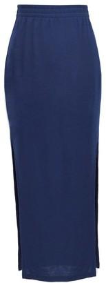 Annro Navy Slit Merino Maxi Skirt