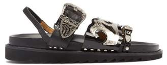 Toga Triple-strap Leather Sandals - Womens - Black