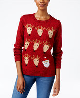 Karen Scott Petite Santa & Reindeer Sweater, Only at Macy's
