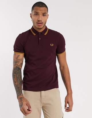 Fred Perry twin tipped polo in burgundy