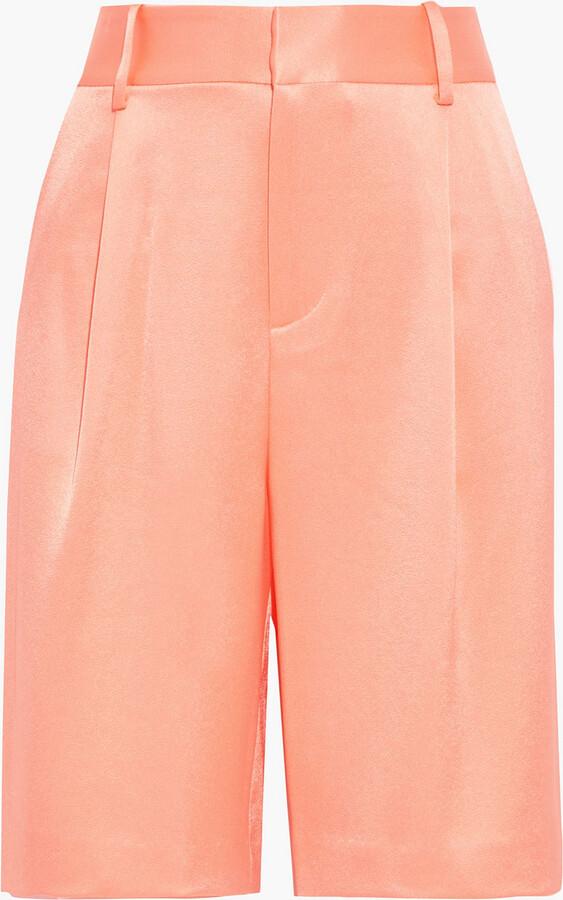 Alice + Olivia Eric Pleated Satin-crepe Shorts