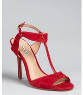 red suede and patent 'Society' t-strap sandals