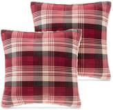 "Woolrich Tasha Reversible Plaid Softspun to Berber 18"" Square Pair of Decorative Pillows"
