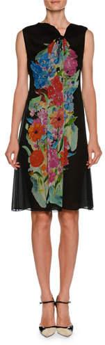 Giorgio Armani Sleeveless A-Line Silk Chiffon Dress w/ Floral-Print