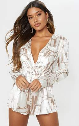 PrettyLittleThing Champagne Chain Print Plunge Playsuit