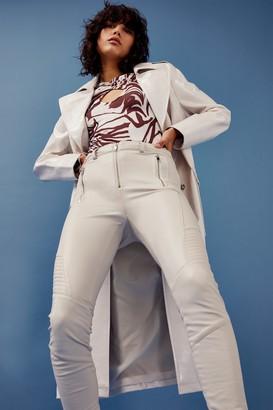Topshop Womens Ecru Faux Leather Leggings - Ecru