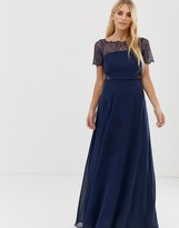 Asos Design Lace Insert Paneled Maxi Dress