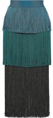 Herve Leger Tiered Fringed Color-block Bandage Midi Skirt