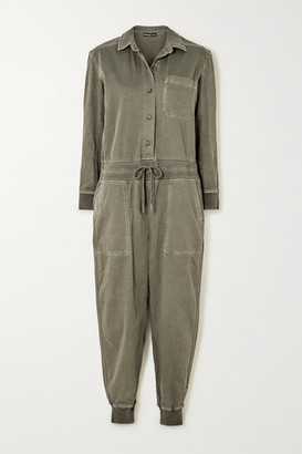 James Perse Mixed Media Slub Cotton-blend Twill Jumpsuit - Green